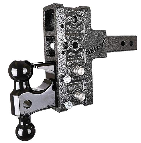 GEN-Y Hitch GH-224 Adjustable Drop Hitch with Ball Mount and Pintle, 5-Inch Drop