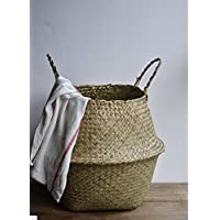 DOKOT Natural Seagrass Belly Basket with Handles, Large Storage Laundry Baske...
