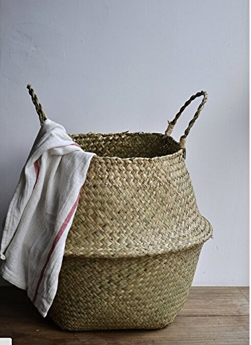 """DOKOT Natural Seagrass Belly Basket with Handles, Large Storage Laundry Basket (15"""" Diameter x 13.4"""