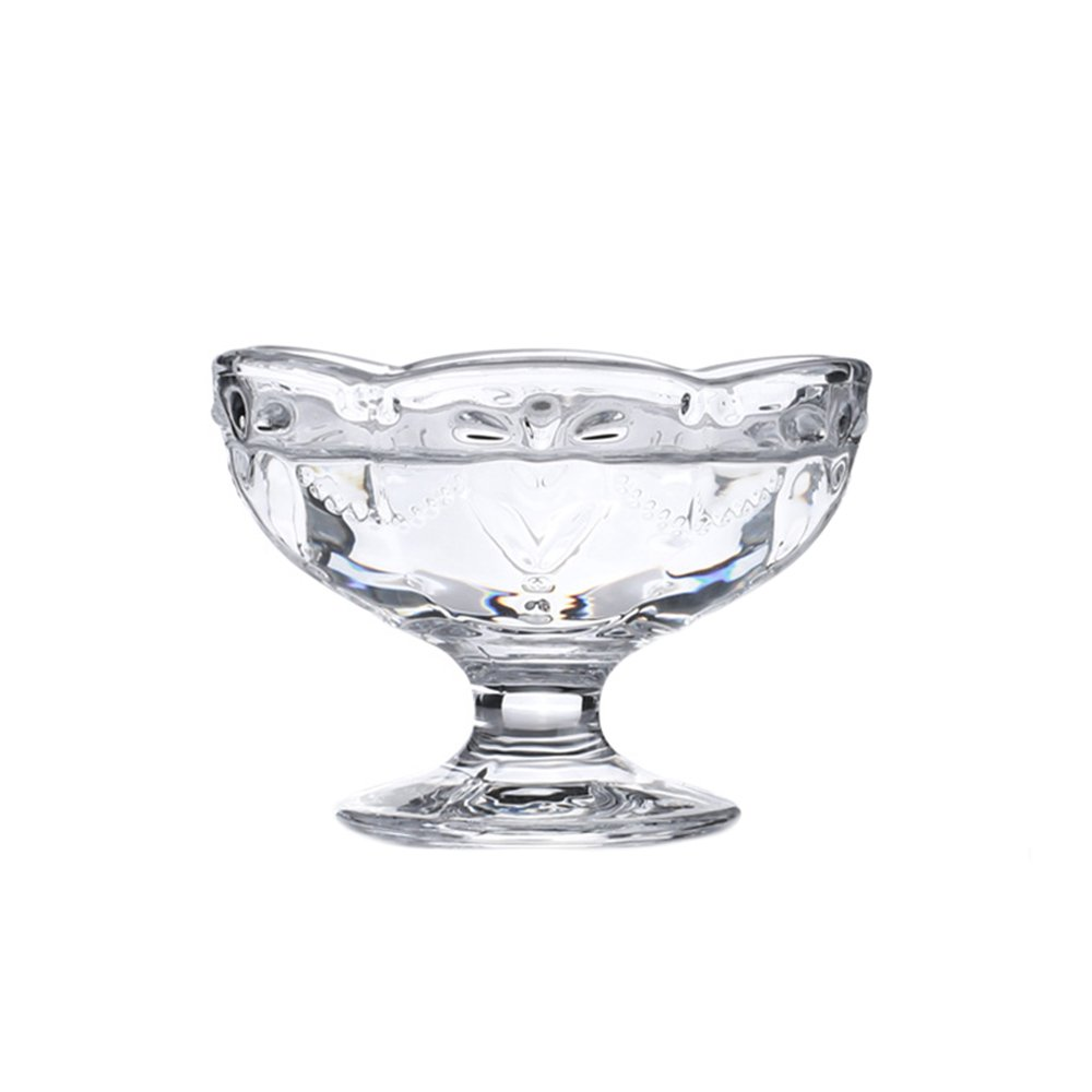 CHOOLD Vintage Romantic Glass Footed Sakura Shape Heart Reliefs Dessert Bowl Ice Cream Bowl Dish Bowl Trifle Bowl Salad Bowl 6oz