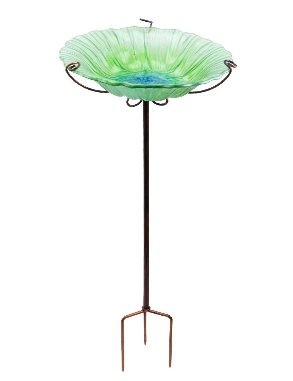 MUMTOP 26'' Glass Birdbath Birdfeeder with Metal Stake Garden Outdoor Green