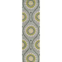 Momeni Rugs SUZHKSZI-5GRY2380 Suzani Hooks Collection, 100% Wool Hand Hooked Traditional Area Rug, 23 x 83 Runner, Grey