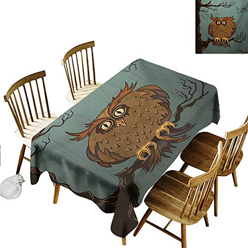 Xlcsomf Kitchen Long Tablecloth Owl Machine Washable Exhausted Hangover Tired Owl in Oak Tree with Eyebrows Nature Cartoon Funny Artwork Blue Brown,W54 xL91 (The Most Beautiful Eyebrows In The World)