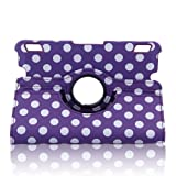 Generic Modern Dotted Slim PU Leather 360 Degree Rotating Auto Sleep/Wake Function 7 Inch 2013 Kindle Fire HDX Smart Carrying Case with Multi-angle Vertical and Horizontal Stand(with a Stylus as a Gift)--Purple
