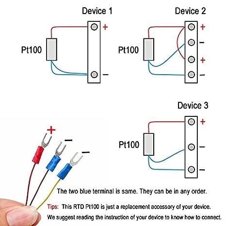 crocsee rtd pt100 temperature sensor probe 3 wires 2m cable rh amazon com pt100 rtd wiring diagram pt100 thermocouple wiring diagram