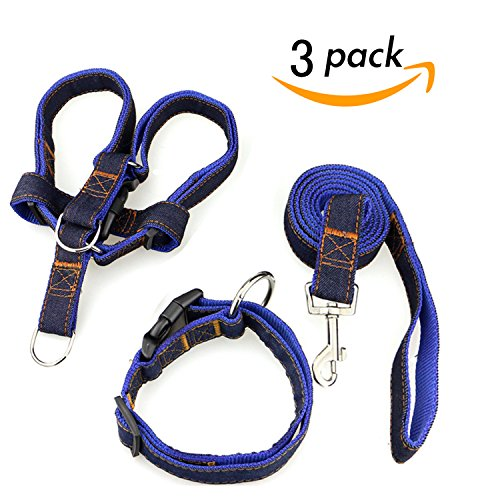 Dog Leash Harness Collar 3pcs Adjustable Denim Harness Heavy Duty Nylon Leash Collar for Large Medium Small Dog,Perfect for Daily Training Walking Running Blue XL