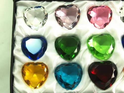 Gift Diamonds Set Sapphires (Sapphire Amber Emerald Crystal Heart Diamond Set of 12 40mm)