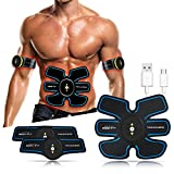 Rxlife Abdominal Muscle Toner Belt EMS PU USB Rechargeable Portable Fitness Muscle Toning Belt for Arm Leg Training Home Office Exercise Workout Equipment for Men Women
