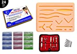 Suture Practice Kit/Suturing Training Kit for Medical/Veterinarian Students & Professionals; 12 Pack of Nylon, Polypropylene, Silk Threads, Silicone Wound Simulation Pad, Suture Tool Set w/Blades