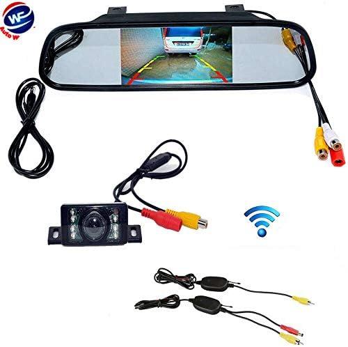 """自動Wayfeng WF 4.3""""TFT LCD HD車の背面図のモニター/ミラー+車を逆転させるためのIR LEDの夜間視界の防水バックアップカメラを駐車する2.4GHz無線車の背面図"""