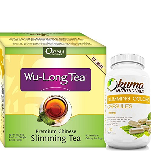 Premium 2 Pack - Premium Chinese Slimming Wulong Tea with Slimming Oolong Tea Capsules - HIGH CONCENTRATION - Weight Loss & Appetite Suppression - 60 Tea Bags & 60 Capsules - Flavored Wulong Leaf Tea