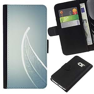 KLONGSHOP // Tirón de la caja Cartera de cuero con ranuras para tarjetas - Significado Profundo Gris Gris - Samsung Galaxy S6 EDGE //