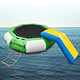 Popsport Inflatable Water Trampoline Series Splash Padded Water Bouncer Inflatable Bouncer Jump Water Trampoline Bounce Swim Platform for Water Sports (Green Slide 10Ft)