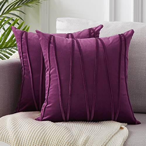 Top Finel Decorative Hand-Made Throw Pillow Covers 16 x 16 Inch Soft Particles Striped Velvet Solid Cushion Covers for Couch Bedroom Car 40 x 40 cm, Pack of 2, Elegant Purple