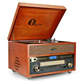 1 BY ONE Nostalgic Wooden Turntable Wireless Vinyl Record Player with AM/FM, CD, MP3 Recording to USB,AUX Input for Smartphones&Tablets and RCA Output