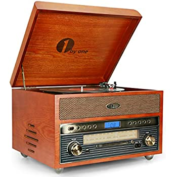 1byone Nostalgic Wooden Turntable Wireless Vinyl Record Player with AM, FM, CD, MP3 Recording to USB, AUX Input for Smartphone and Tablets, RCA ...