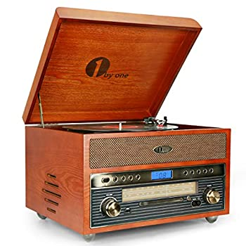 Image of Turntables 1byone Nostalgic Wooden Turntable Wireless Vinyl Record Player with AM, FM, CD, MP3 Recording to USB, AUX Input for Smartphone and Tablets, RCA Output, Yellow 471NA-0007
