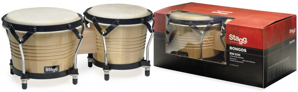 Stagg BW-200-N 7.5-Inch & 6.5-Inch Latin Wood Bongos - Natural