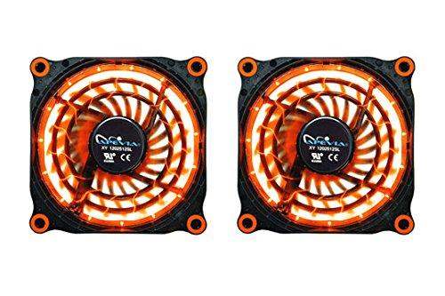 APEVIA 212L-DOG 120mm Silent Black Case Fan with 15 x Orange LEDs & 8 x Anti-Vibration Rubber Pads (2 Pk) - Best Value
