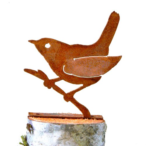 Wren on a Branch Rusty Garden Sculpture