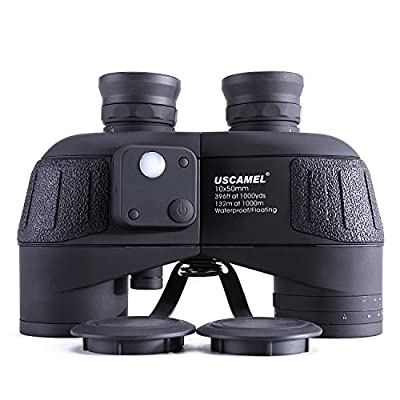 USCAMEL 10x50 Marine Binoculars for Adults, Military Binoculars Waterproof with Rangefinder Compass BAK4 Prism FMC Lens Fogproof for Navigation Birdwatching Hunting …