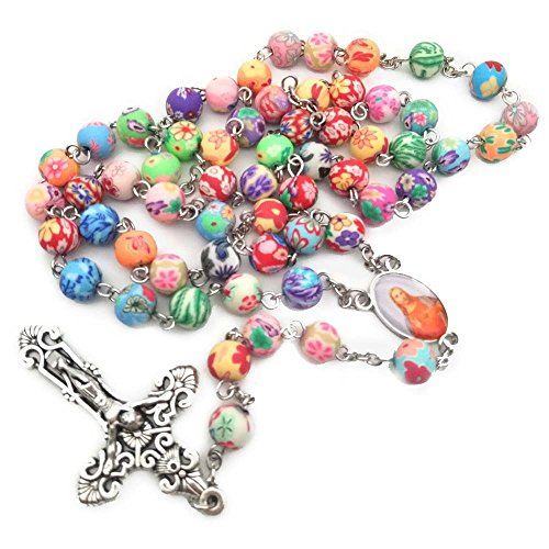 59pcs Catholicism Rosary Necklace Polymer Clay Beads Cross