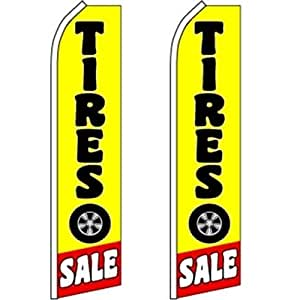 2 Swooper Flutter Flags TIRES SALE Tire Symbol Yellow Black Red