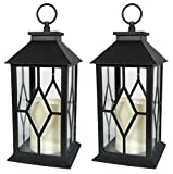 """mantel decorating ideas BANBERRY DESIGNS Decorative Lanterns - Black Decorative Lantern with a Flameless LED Pillar Candle and 5 Hour Timer - Outdoor Lighting - Set of 2-13"""" H"""