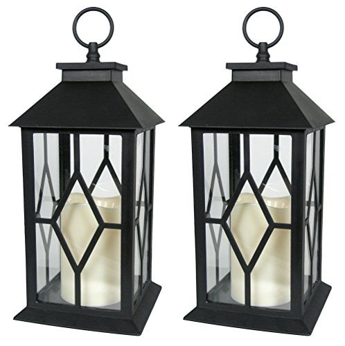 - BANBERRY DESIGNS Decorative Lanterns - Black Decorative Lantern with a Flameless LED Pillar Candle and 5 Hour Timer - Outdoor Lighting - Set of 2-13
