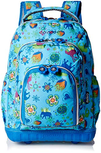 'Cranbrook' Rolling Mini Backpack with Insulated Lunch Box - aqua/multi