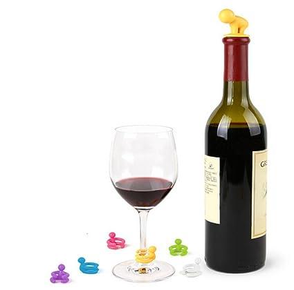 Set de 6 marcadores vasos y tapon de vino silicona identificadores de bebidas de invitados ideales