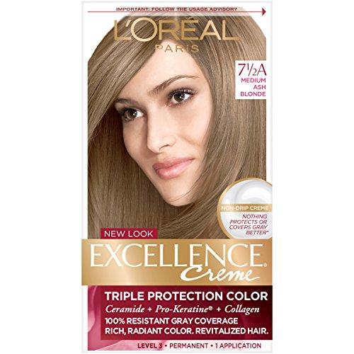 L'Oréal Paris Excellence Créme Permanent Hair Color, 7.5A Medium Ash Blonde, 1 kit 100% Gray Coverage Hair Dye (Ash Blonde Hair Dye On Red Hair)