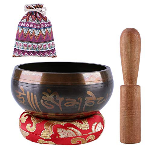 Tibetan Singing Bowls Mind For Meditation Yoga With Mallet Silk Cushion Carry Bag 4.5″ For Chakra Healing, Prayer, Anxiety Relief,Zen ~Your First Singing Bowl Set