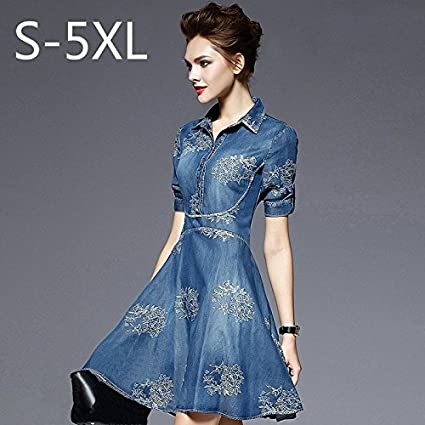 Xujianguo XJG S-5XL Summer Autumn Vintage Half Sleeve Slim Dress Plus Size Clothing Embroidered