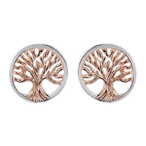 Vermeil Tree - Charming Tree of Life Rose Gold Vermeil .925 Sterling Silver Post Earrings