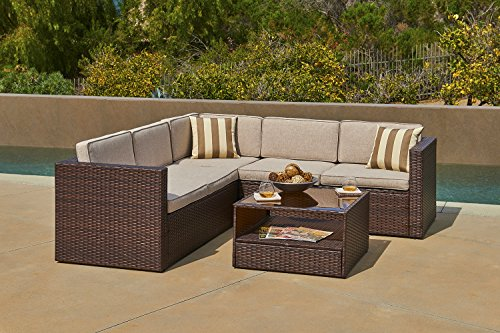 SOLVISTA Outdoor 4 Piece Sofa Sectional Set All Weather Brown Wicker With  Beige Waterproof Cushions