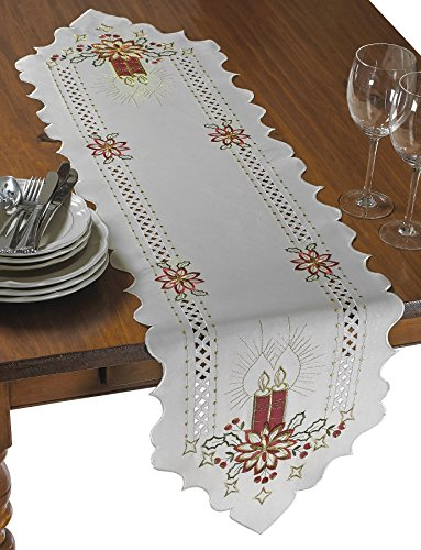 Violet Linen Seasonal Christmas Candles Vintage Holiday Embroidered Design Place Mats, 13
