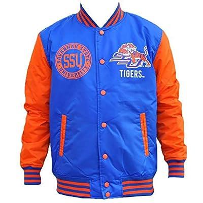 Hot Rob's Tees Savannah State University Blue Orange Lightweight Varsity Jacket Black College Fraternity Hbcu Mens Coat Jacket supplier