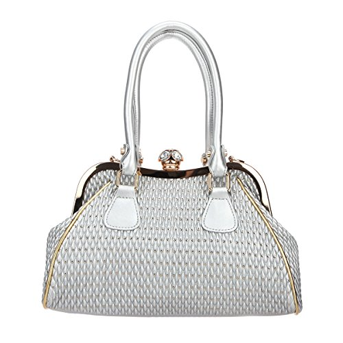 Silver Leather Pu Crystal Butterfly Women For Bags Purse Hand Ball Bonjanvye Spherical And HT6xFqw67