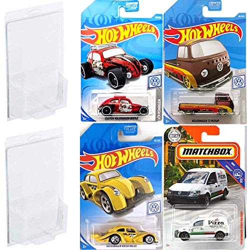 2019 T2 VW Hot Wheels Pickup + Matchbox Pizza Delivery Van Moon Eyes Pack Cars Racer Volkswagen Kafer Series Hot Wheels Yellow / Custom Red Beetle 4 Bundle in Protective Cases