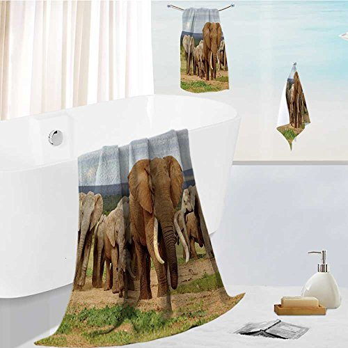 (AuraiseHome Luxury Bath Towel Collection Set An elephant herd,led by a Magnificent 'Tusker' bull at a waterhole in the Elephant Park. Machine Washable, Super Soft 19.7