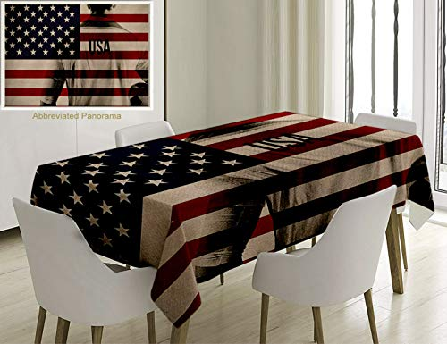Unique Custom Cotton and Linen Blend Tablecloth Sports Decor Composite Double Exposure Image of A Soccer Player and American Flag National USA Run BeiTablecovers for Rectangle Tables, 60 x 40 inches ()