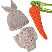 ISOCUTE Newborn Photography Props Rabbit Costume, Baby Photo Shoot Accessories (Hat+Shorts+Carrot)