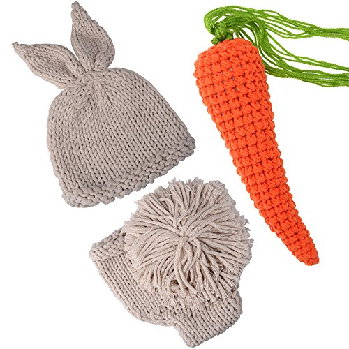 ISOCUTE Newborn Photography Props Rabbit Costume, Baby Photo Shoot Outfits (hat+Shorts+Carrot) -