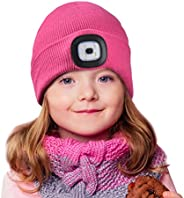 Etsfmoa Unisex LED Beanie Hat with Light,Gifts for Kids Boys Girls Children USB Rechargeable Hands Free 4 LED