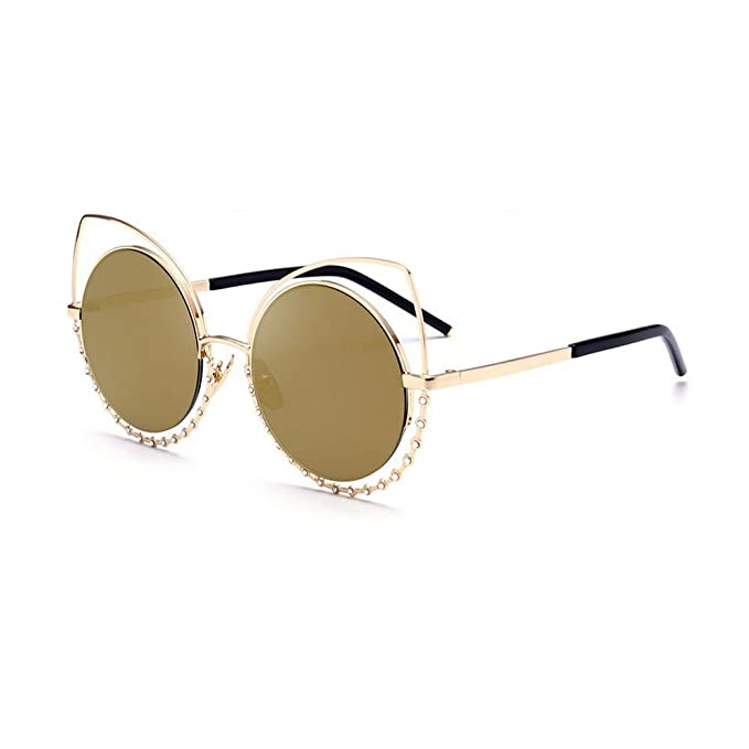 a4e2c45271fd MINCL Women Cat eye Metal Frame Round Lens Western Bling Ladies Sunglasses  (gold
