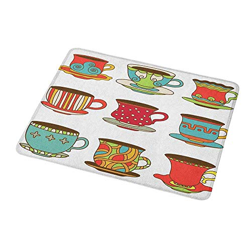 - Mouse Pad Custom Design Tea Party,Colorful Vivid Teacup Design Cartoon Drawing Style Breakfast Brunch Illustration,Non-Slip Rubber Comfortable Customized Computer Mouse Pad 9.8