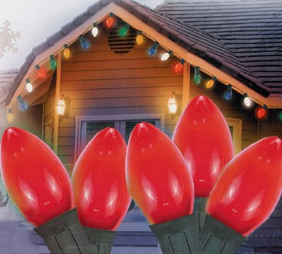 25 Ceramic Style Opaque Red LED Retro Style C7 Christmas Lights - Green Wire