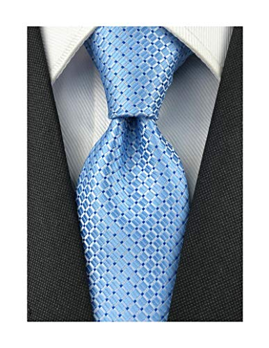 - Men's Sky Blue Gingham Plaid Slik Ties Designer Business Slim Self Meeting Neckties