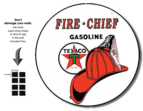 Shop72 - Fire Chief Texaco Tin Signs Retro Vintage Gas Tin sign n Oil Tin Sign Wall Decor Garage - (Chief Fire Tin)